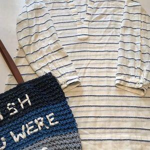 💙J. Crew cream/blue stripe cover up/beach dress💙
